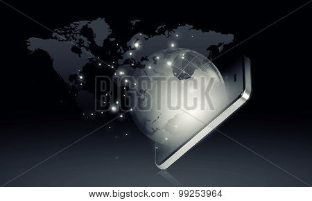 Mobile internet concept with mobile phone and digital planet