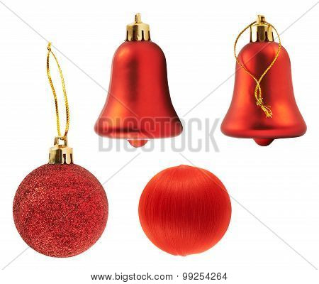Four red decoration figures isolated