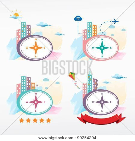 Compass Directions Vector Icon Icon On City Background.