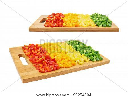 Sweet bell pepper cut in pieces