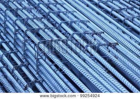 Rebar Tied Together Strong For Use In Construction