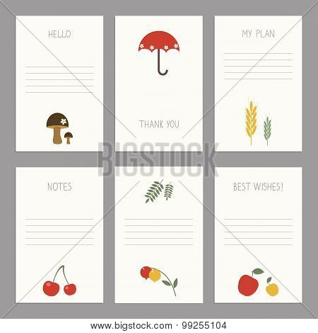 Vector Set Of Vintage Cards  Templates Editable.template For Scrapbooking, Diary, Notebooks.