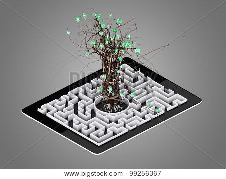 Social Media Icons Set In Tree Shape On Maze In The Tablet.