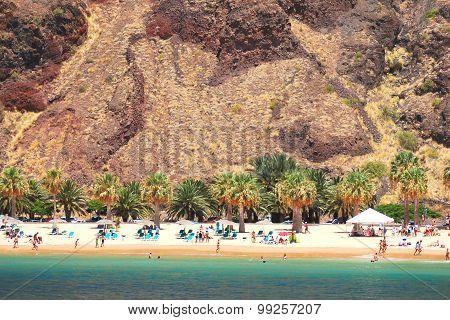 Picturesque gorgeous playa de las Teresitas on Tenerife island, Spain