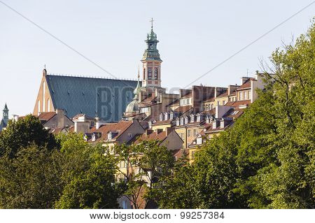 Houses And Church Steeple In The Old Town, Warsaw