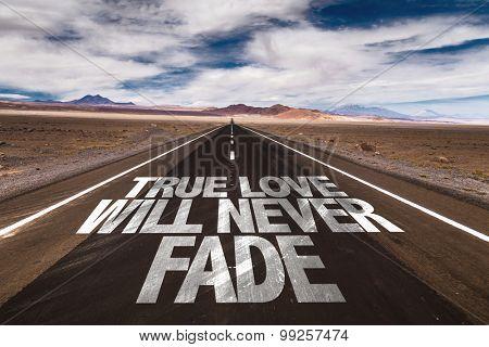 True Love Will Never Fade written on desert road