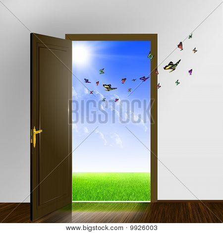 White Door Leading To The Sunny World