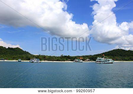 Tourist boats in Phu Quoc sea