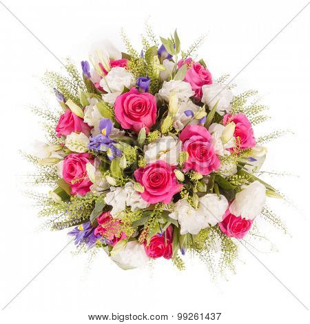Bouquet of flowers top view isolated on white.