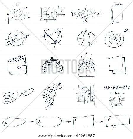 Set of graphic black and white hand-drawn elements for business, finance strategy.