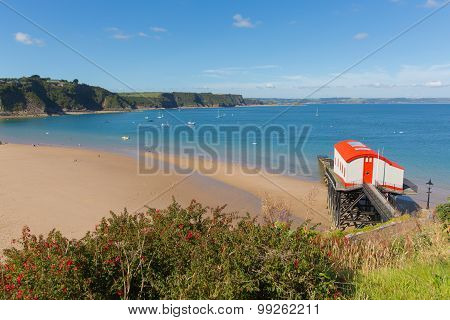 View from Tenby Wales UK of the coast and Carmarthen Bay in summer with old lifeboat station