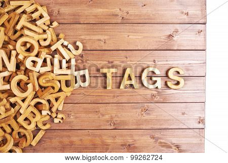Word tags made with wooden letters