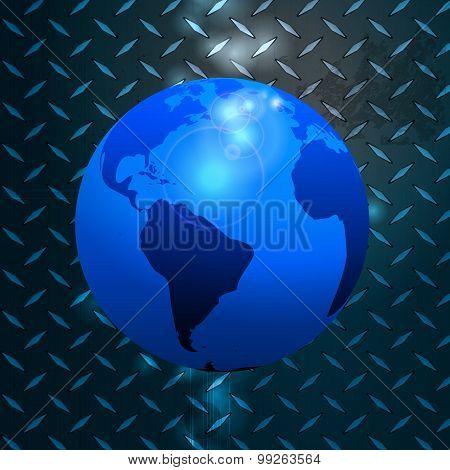 World Globe Over Metallic Diamond Plate