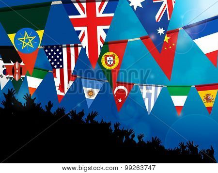 World Bunting Flags With Crowd Over Blue Background