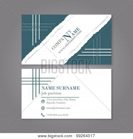 Business card template in vintage style, torn paper with shadow