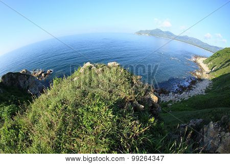 beautiful mountain and coastal landscape at seaside