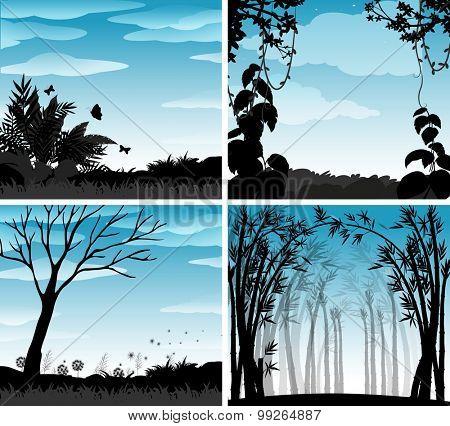 Silhouette scene of nature illustration