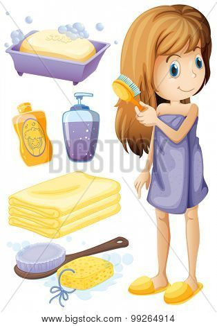 Woman combing hair and bathroom set illustration