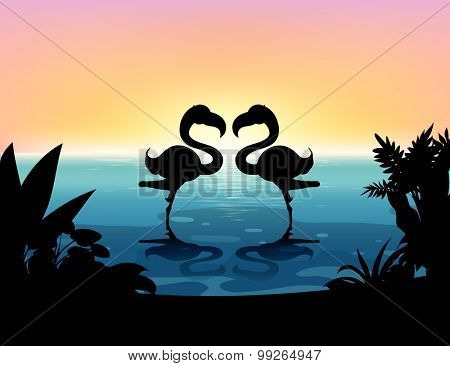 Silhouette flamingo standing in the pond illustration
