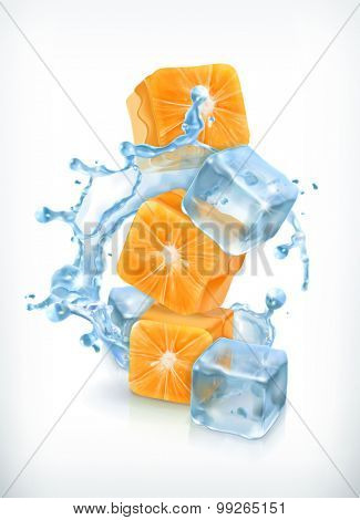 Orange cubes with ice and splashes, vector icon