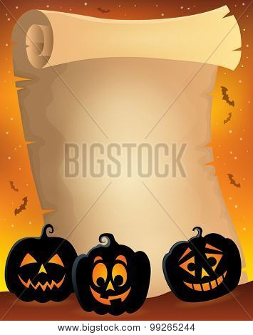 Parchment with pumpkin silhouettes 2 - eps10 vector illustration.