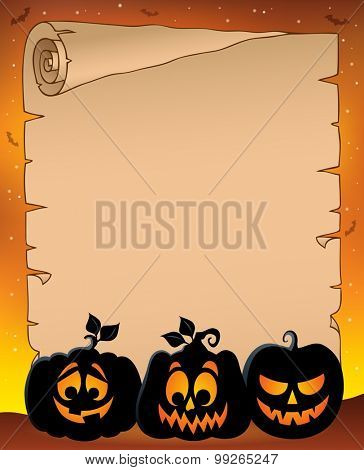Parchment with pumpkin silhouettes 1 - eps10 vector illustration.