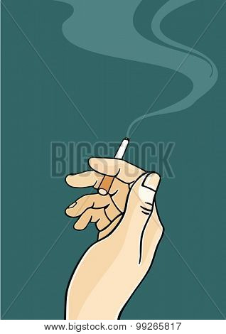 Hand of a man holding a cigarette