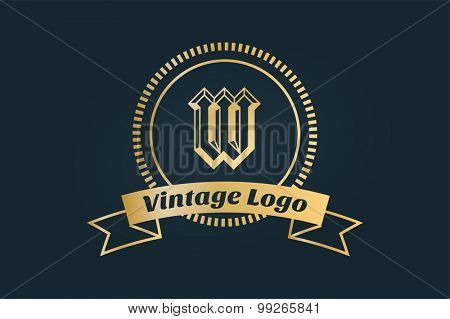Vintage old style logo icon template. Vintage retro style. W logo. Arrows, labels, ribbons, decor, shield logo, knight logo, premium quality vector. Logo design. Retro style