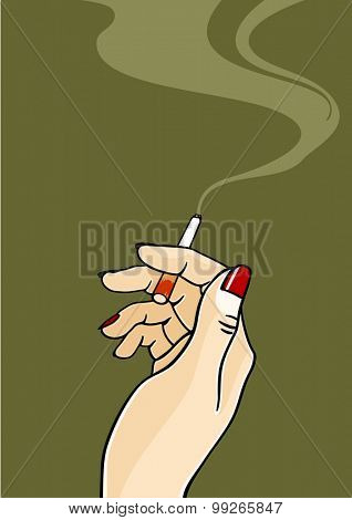 Hand of a woman holding a cigarette
