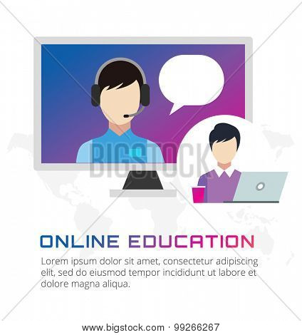 Online education vector icons. Webinar, school, university courses. Students, people silhouette and online education objects. Man silhouette. Abstract people. Teambuilding. Group of people. School