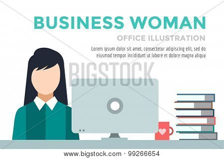 Business woman silhouette. Businesswoman work infographic. People at work. Labor Day. Office life and business woman. Business situation. People in action. Computer, table, books, clock. Business