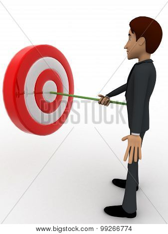 3D Man Putting Dart On Target Board Concept