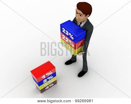 3D Man Holding Cube Of Percentage Concept