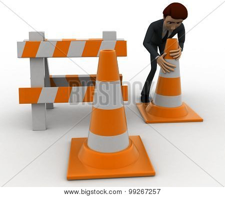 3D Man With Traffic Cones And Hurdle Concept