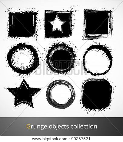 Set of grunge elements. Vector illustration.