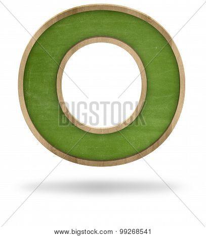 Green blank letter O shape blackboard