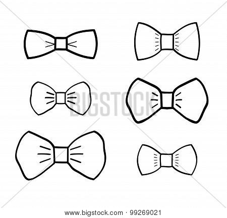 Hand-drawn bowties set