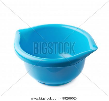 Blue plastic measuring bowl isolated