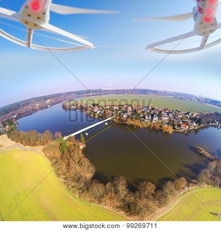 Aerial view from drone to Czech Valley Reservoir in The Litice suburban district of Pilsen, Czech Republic, Europe.