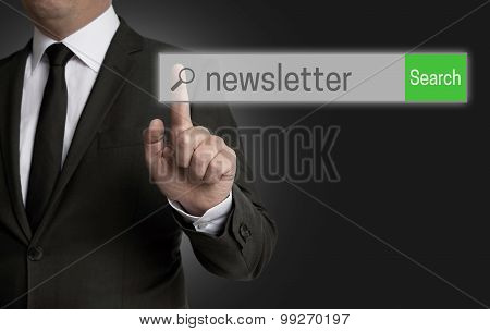 Newsletter Internet Browser Is Operated By Businessman