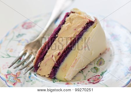Piece Of Cake With Currant Sponge Cake And White Chocolate.