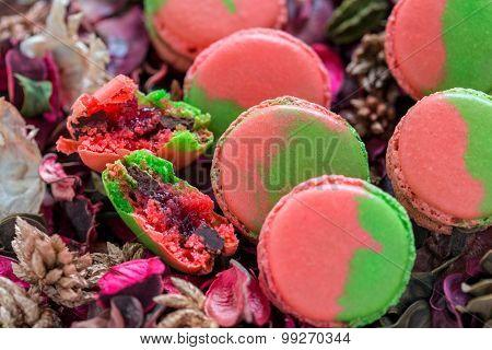 Macarons Stuffed With Chocolate And Berries.