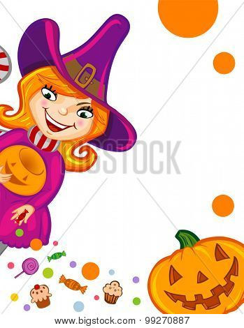 Halloween greeting card or invitation with witch and Jack-o-lantern