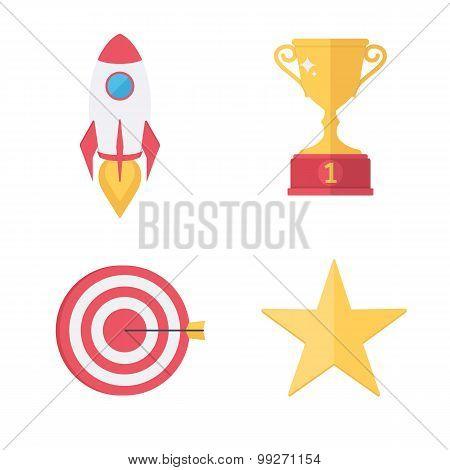Success awards icons set.