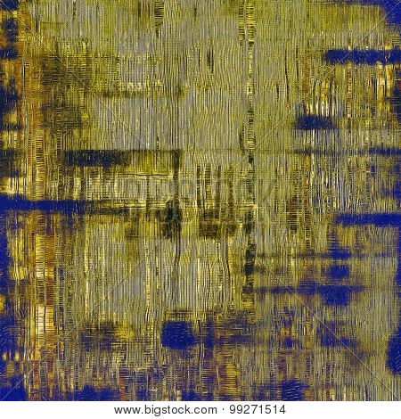 Grunge texture with decorative elements and different color patterns: yellow (beige); brown; green; blue