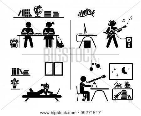 Vector illustration of children doing homework, learning and and spending their free time in their rooms. Pictogram icon set.