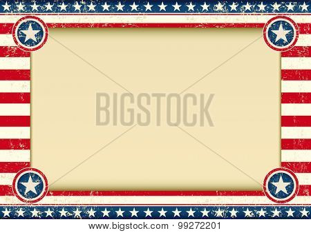US background horizontal. An american background with a large empty frame for your publicity
