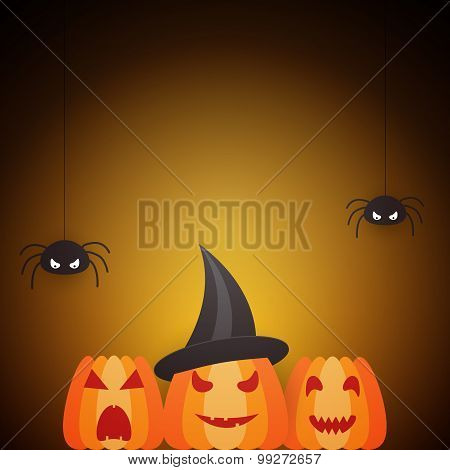 Halloween Design Template With Pumpkins And Spiders
