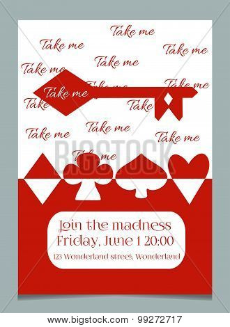 Invitation card Take me key from Wonderland.