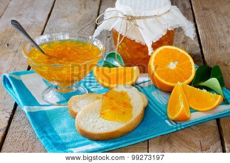 Homemade Orange Marmalade On Wooden Table